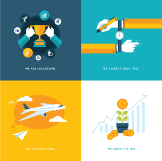 Flat Business Concept Icons PSD