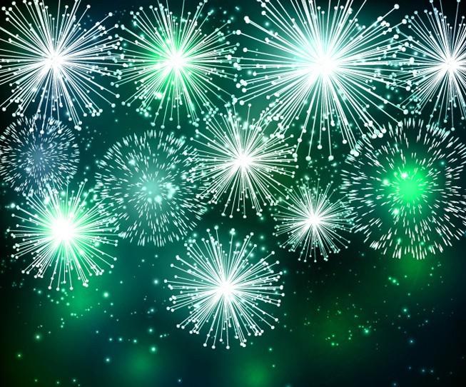 Green Fireworks Vector