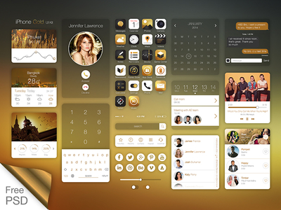 iPhone Gold Ui Kit PSD