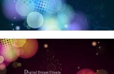 Digital Dream Halos Background Set Vector