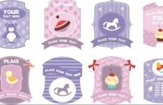 Cute Cartoon Label Set Vector