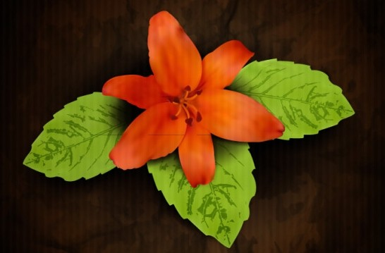 Vintage Orange Flower with Green Leaves Background Vector