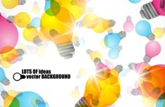 Colorful Bulbs & Ideas Background Vector