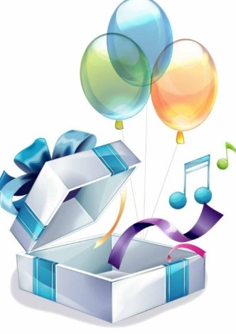 Colorful Balloon Gift Box Vector