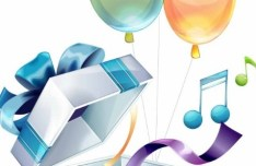 Colorful Balloon Gift Box Vector
