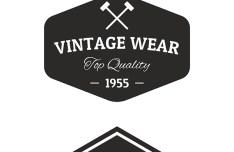 Genuine Vintage Wear Label Set Vector