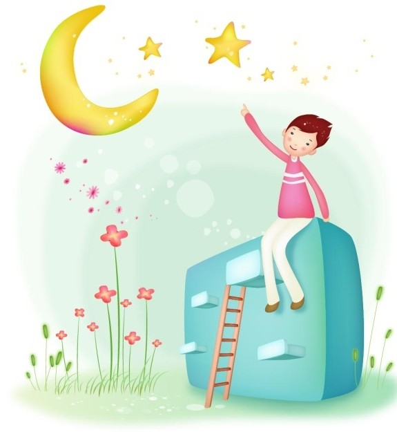 Counting Stars Boy Vector Illustration