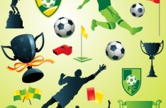 Green Soccer Design Elements Pack Vector