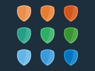 Colorful Flat Shield & Badge Set PSD