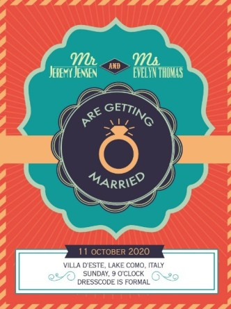 Vintage Elegant Wedding Invitation Card Vector
