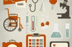 Retro Medical Icon Set Vector