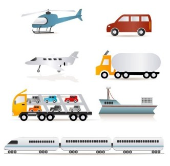 Transportation Vehicle Icon Set Vector