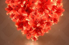 Pink Flower Heart Background Vector
