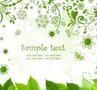 Green Leaves and Vines Background Vector