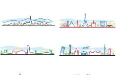 Colorful City Line Silhouette Set Vector