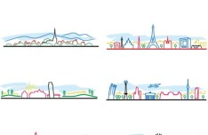 Colorful City Line Silhouette Set Vector
