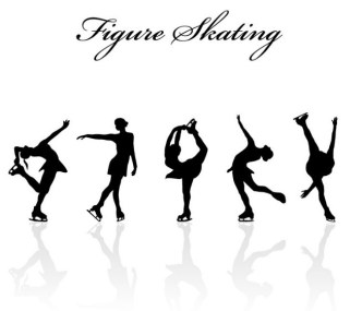 Figure Skating Silhouette Set Vector