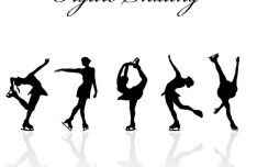 Figure Skating Silhouette Set Vector