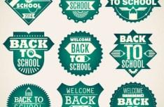 Green Back To School Badge Set Vector