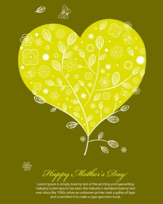 Heart-shaped Leaf Background For Mother's Day Vector