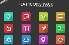12 Flat Long Shadow Icons PSD