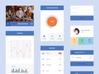 Flat Blue UI Kit PSD