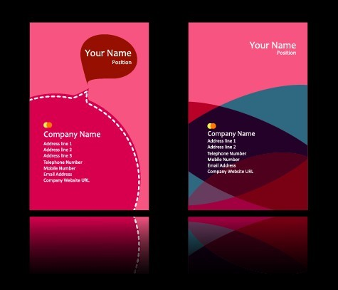 Sweet Pink Business Card Templates Vector 01