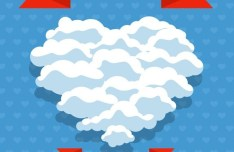 Cloud Heart Valentine's Day Card Vector