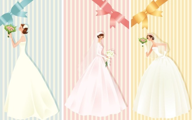 Beautiful Brides and Wedding Dresses Vector