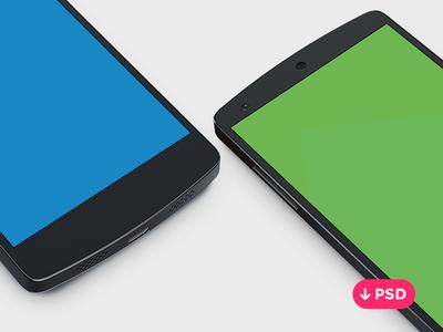 Nexus 5 Side View Template PSD