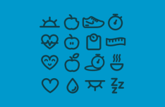 Eat Well Icon Set Vector