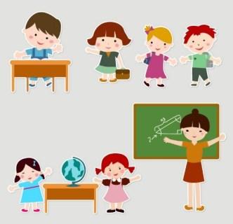 Cartoon Students and Teacher Vector