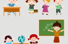 Cartoon Students and Teacher Vector