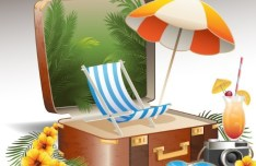 Vintage Summer Beach Vacation Design Elements Vector