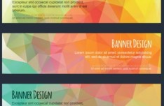 Colorful Low Polygon Banner Design Vector Vol.1