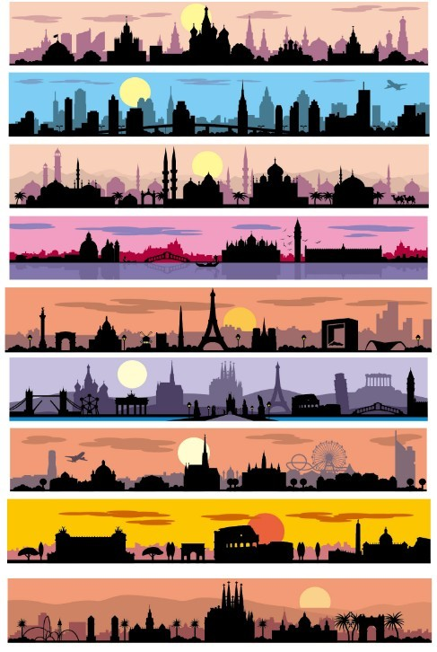 Silhouetted City Banner Set Vector
