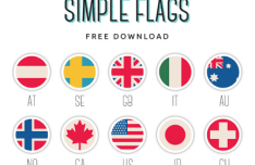Simple Round Flags PSD