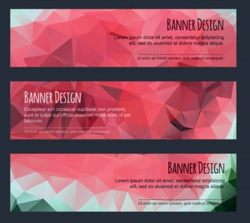 Colorful Low Polygon Banner Design Vector Vol.5