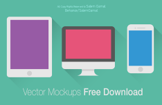 Flat Apple Devices Mockups Vector PSD