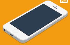 iPhone 5S White Flat Mockup PSD