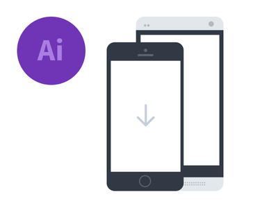 iPhone & Android Phone Flat Mockup Vector