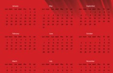 2015 Happy New Year Red Calendar Vector