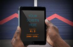 Realistic Hands holding iPad Mockup PSD