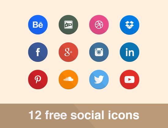 12 Flat Circular Social Icons PSD