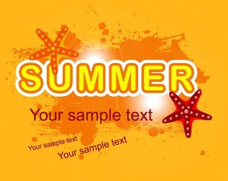 Orange Grunge Summer Background Vector