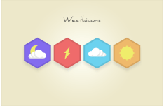 Flat Hexagon Weather Icons PSD