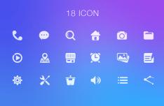 18 Simple UI Icons PSD