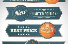 Vintage Promotion Ribbon Banner Set Vector