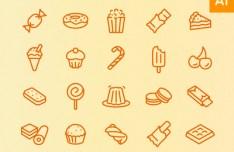 Dessert Line Icons Set Vector