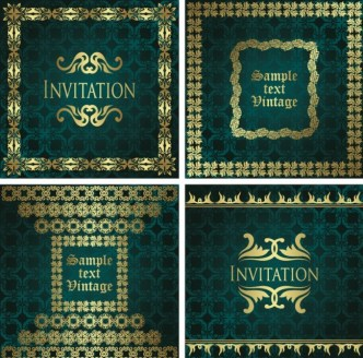 Dark Green Invitation Card with Gold Royal Border Vector